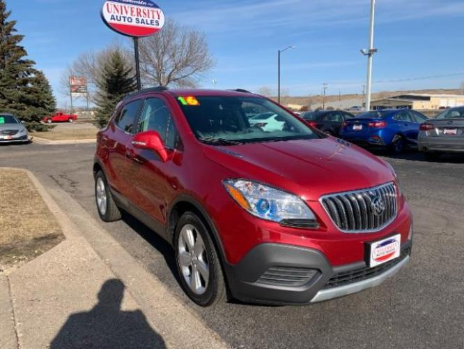 2016 Winterberry Red Metallic/Dark Argent Metallic Buick Encore Base FWD (KL4CJASB4GB) with an 1.4L L4 DOHC 16V TURBO engine, 6-Speed Automatic transmission, located at 3301 W Hwy 13, Burnsville, MN, 55337, (952) 460-3200, 44.775333, -93.320808 - Photo #0